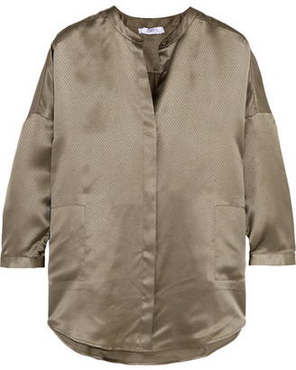 Eres - Oversized Silk-jacquard Pajama Top - Army green $365 thestylecure.com