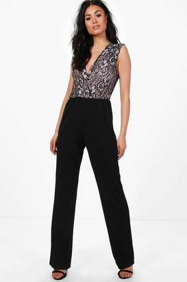 boohoo Jane Pleated Shoulder Lace Top Jumpsuit