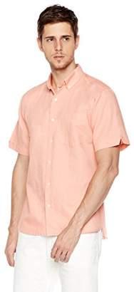 Isle Bay Linens Men's Standard Fit Short Sleeve Linen Cotton Casual Shirt L