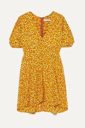 Faithfull The Brand Ilia Floral-print Crepe Mini Dress - Saffron