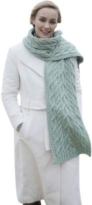 "Carraigdonn Carraig Donn Aran Knit Scarf 100% Merino Wool 10"" x 75"" Seafoam Green"