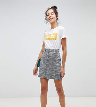Brave Soul Tall adore check skirt with zip detail