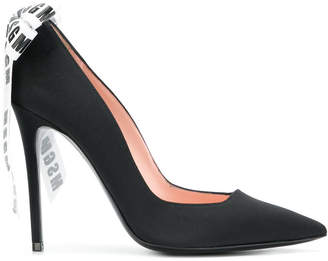 MSGM logo ribbon bow pumps