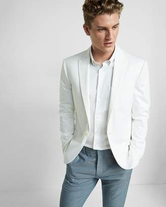 Express Slim Cotton Blend White Blazer