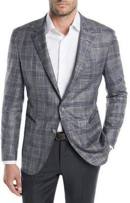 BOSS Men's Two-Tone Plaid Jacket