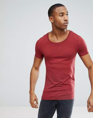 Asos DESIGN muscle fit t-shirt with scoop neck in red