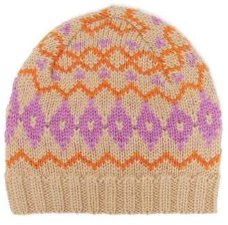 Acne Studios Fair Isle Wool Hat - Womens - Pink