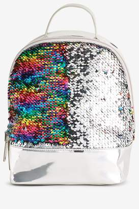 Next Girls Silver Mini Sequin Rucksack - Silver