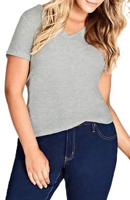 City Chic V-Neck Boyfriend Tee