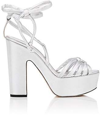 Ballin ALCHIMIA DI Women's Tara Leather Ankle-Wrap Platform Sandals - Silver