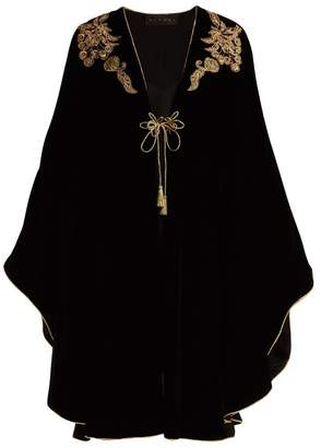 Dundas - Bead And Sequin Applique Velvet Cape - Womens - Black Gold