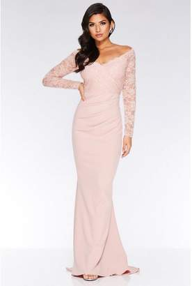 Quiz Nude Bardot Lace Fishtail Maxi Dress