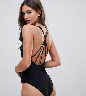 Asos Tall DESIGN Tall strappy ring back swimsuit