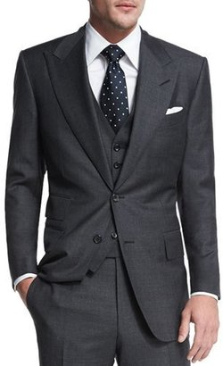 TOM FORD Windsor Base Sharkskin Three-Piece Suit, Charcoal $4,990 thestylecure.com