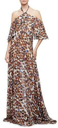 Derek Lam Halter-Neck Floral-Print Silk Chiffon Gown, Natural/Multi Colors $2,895 thestylecure.com