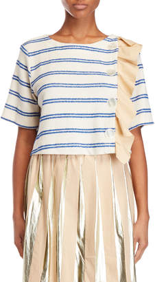 Alysi Ruffled Short Sleeve Sweater
