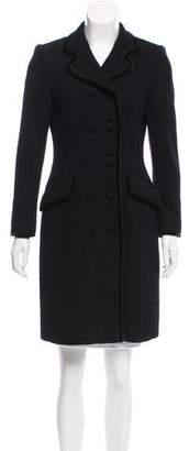 Rena Lange Velvet-Trimmed Wool Coat