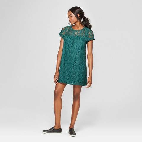 Lots of Love by Speechless Women's Illusion Neckline Lace Shift Dress - Lots of Love by Speechless (Juniors') Dark Green
