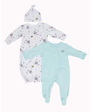 Vitamins Baby Vitamins Newborn Baby Girl Gown, Sleep 'N Play, and Hat, 3pc Set