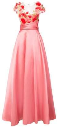 Marchesa 3D flower detail gown
