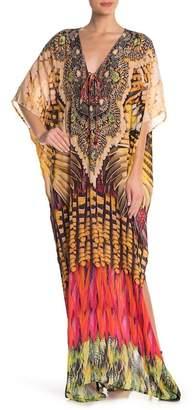 Shahida Parides Printed Long Silk Kaftan