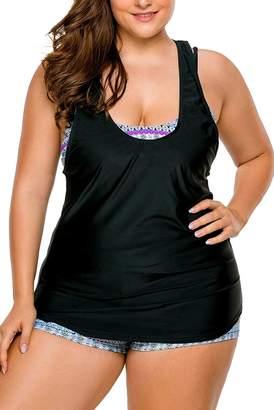 8593ff5a86 WoldGirls Womens Plus Size Tankini Swimsuit Swimwear Strappy 3 Piece Bikini  Set