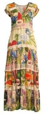 Carolina K. Catalina Floral V-Neck Silk Satin Midi Dress
