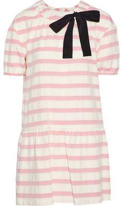 RED Valentino Bow-embellished Striped Cotton-blend Mini Dress