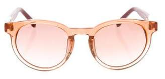 Linda Farrow The Row x Leather-Trimmed Round Sunglasses