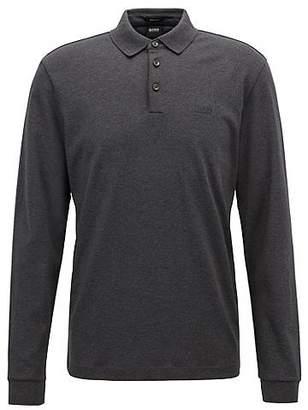 HUGO BOSS Long-sleeved polo shirt in interlock cotton