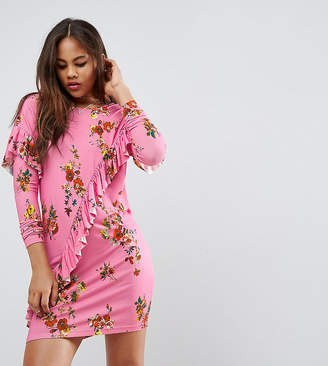 Asos Tall TALL Mini T-Shirt Dress With Frill And Low Back In Floral Print