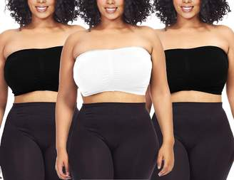 10937bbacd735 Dinamit Jeans 3-Pack Plus Size Seamless Strapless Bandeau Tube Top Bra