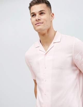 Asos DESIGN regular fit viscose shirt with revere collar in pink