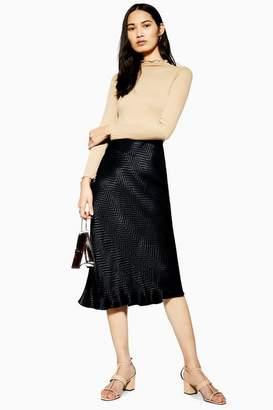 Topshop Womens Zig Zag Jacquard Satin Bias Skirt