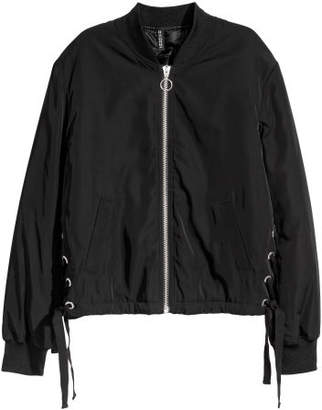 H&M Bomber Jacket with Lacing - Black