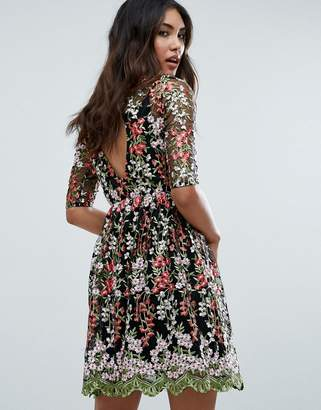 Club L Floral Embroided All Over Skater Dress