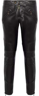 RED Valentino Cropped Jersey-Paneled Leather Skinny Pants