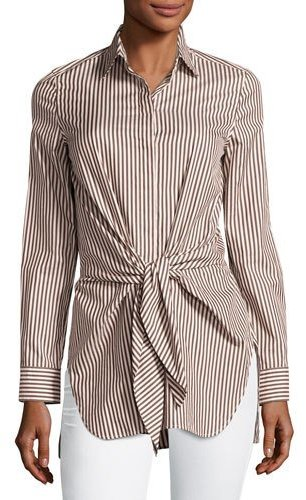 3.1 Phillip Lim 3.1 Phillip Lim Long-Sleeve Striped Tie-Front Top, Ecru/Brown