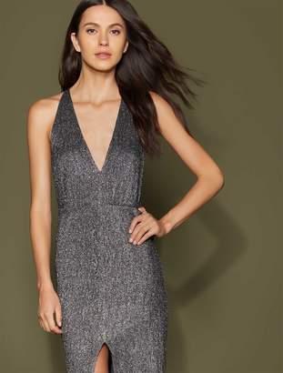 Halston Metallic Knit Gown