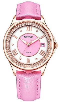 Comtex腕時計 レディース 丸い ウオッチ 革ベルト クォーツ時計 (ローズゴールドケース:ピンク&ホワイト文字盤)