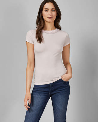 Ted Baker JACII Frill neck fitted T-shirt