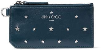 Jimmy Choo INGO Indigo Leather Card Holder with Silver Flat Star Stud Design