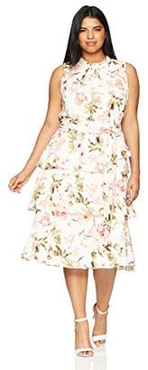 Jessica Howard Women's Plus Size Floral Dress with Layered Skirt