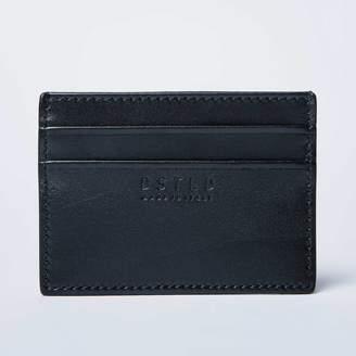 DSTLD Mens Calfskin Leather Credit Card Holder in Black
