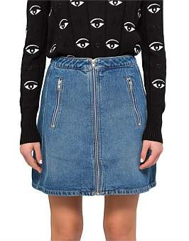 Kenzo Stone Washed Denim Mini Skirt Withzip Front