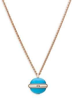 Piaget Women's Possession Diamond, Turquoise & 18K Rose Gold Pendant Necklace