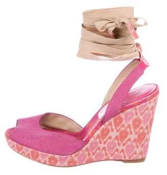 Stuart Weitzman X Theodora Callum Canvas Wedge Sandals