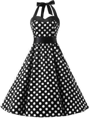 Dresstells® Halter 1950s Vintage Audrey Dress Polka Dots Retro Cocktail Dress 2XL