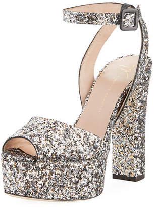 Giuseppe Zanotti Glitter Platform 120mm Sandal