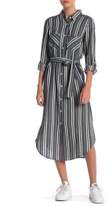 Elan International Striped Midi Shirt Dress